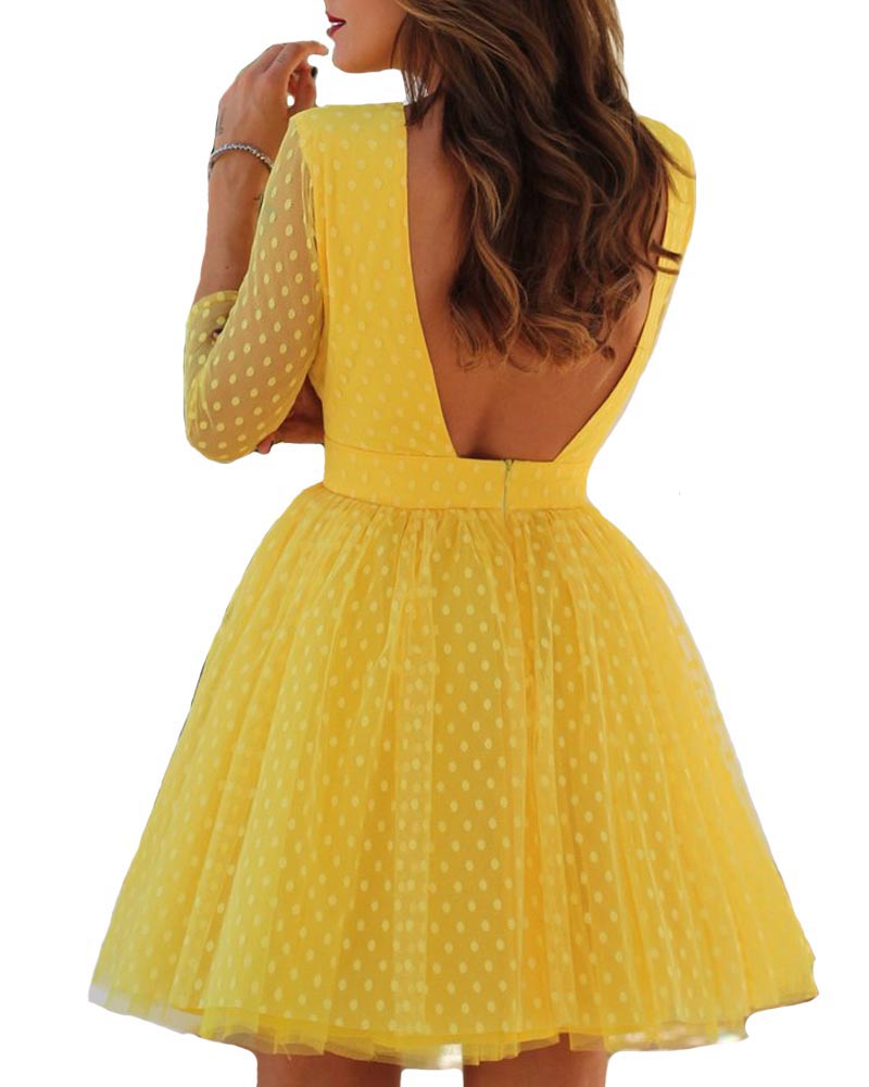 Hitmebox 2019 Summer Sexy Fashion Female Long Sleeve Polka Dots Mesh Princess Dress Patchwork Backless Mini Ball Party Dresses