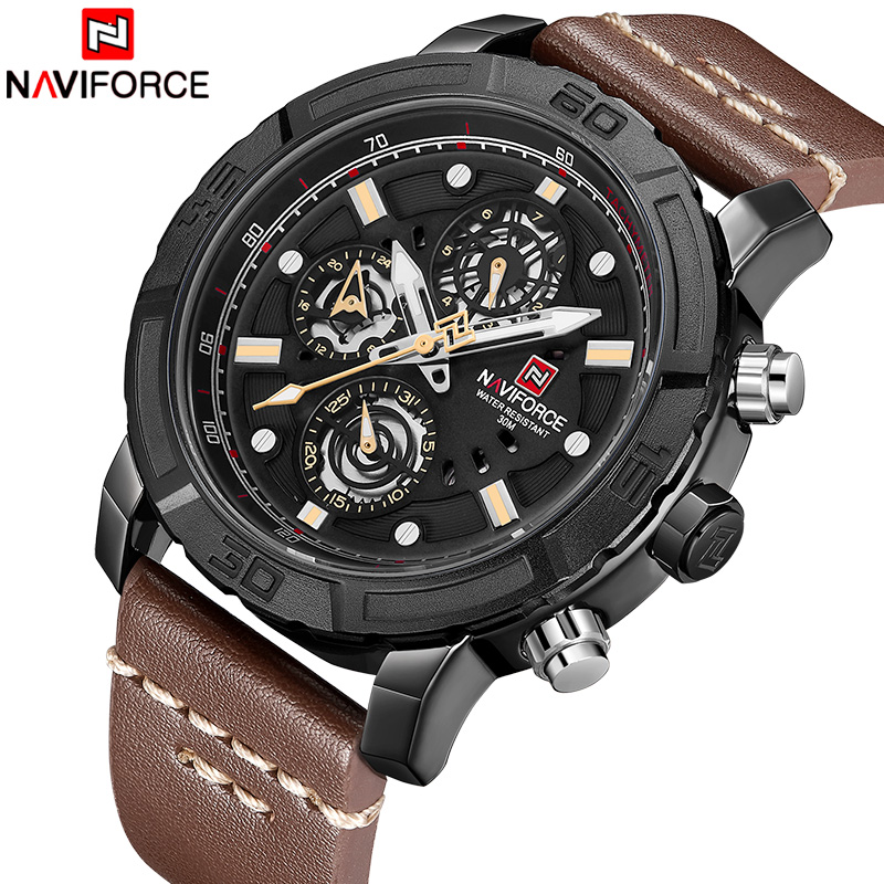 New Men Watches NAVIFORCE Top Brand Luxury Genuine Quartz Leather Watch Men Military Sports Date Analog Clock Relogio Masculino brand luxury men sports watches men quartz date analog clock male leather band casual military watch minifocus relogio masculino