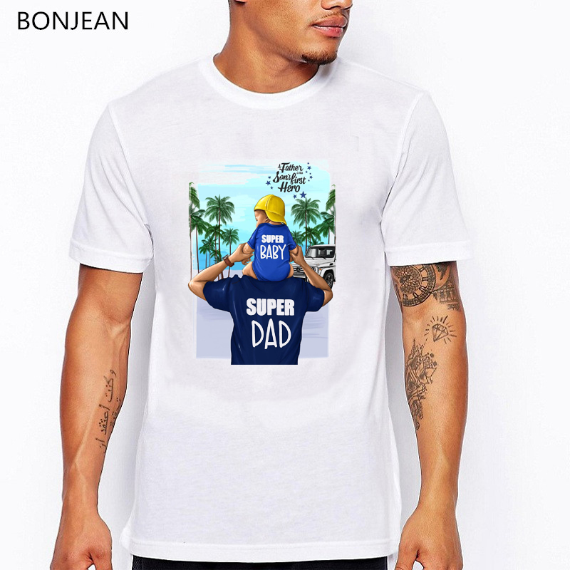 Novelty Mens T-Shirt Awesome Blue Super Daddy T-Shirt Fathers Day Present Gift