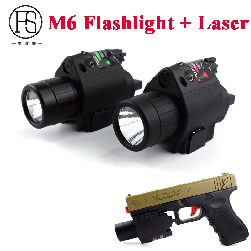 M6 Tactical Flashlight + Red Green Laser Sight For 20mm Rail Hunting Shooting Hand Gun Rifle Sightscope