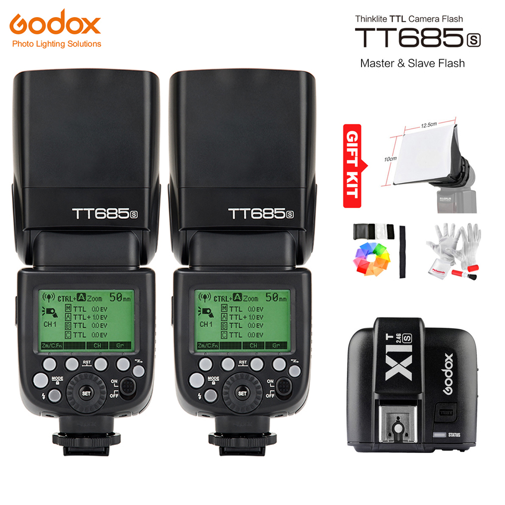 Godox TT685S GN60 TTL HSS 1/8000s Flash Light Speedlite + X1T-S Trigger Transmitter for Sony A77II A7RII A7R A58 A99 A6300 A6500 pixel x800s standard gn60 hss ttl flash speedlite 2pcs king pro 2 4g flash trigger transceivers for sony a7 a7s a7r a7rii