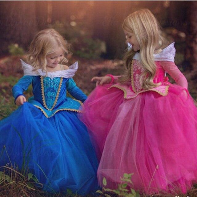 Moda Niñas Cenicienta princesa rosa azul vestido Cosplay partido ...
