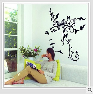 1pc 95*100cm Women Flower Living Room Vinyl Wall Art Decals Bedroom Wall  Stickers Home Decor Window Film Book Shelf 3D Wallpaper In Wall Stickers  From Home ... Part 49