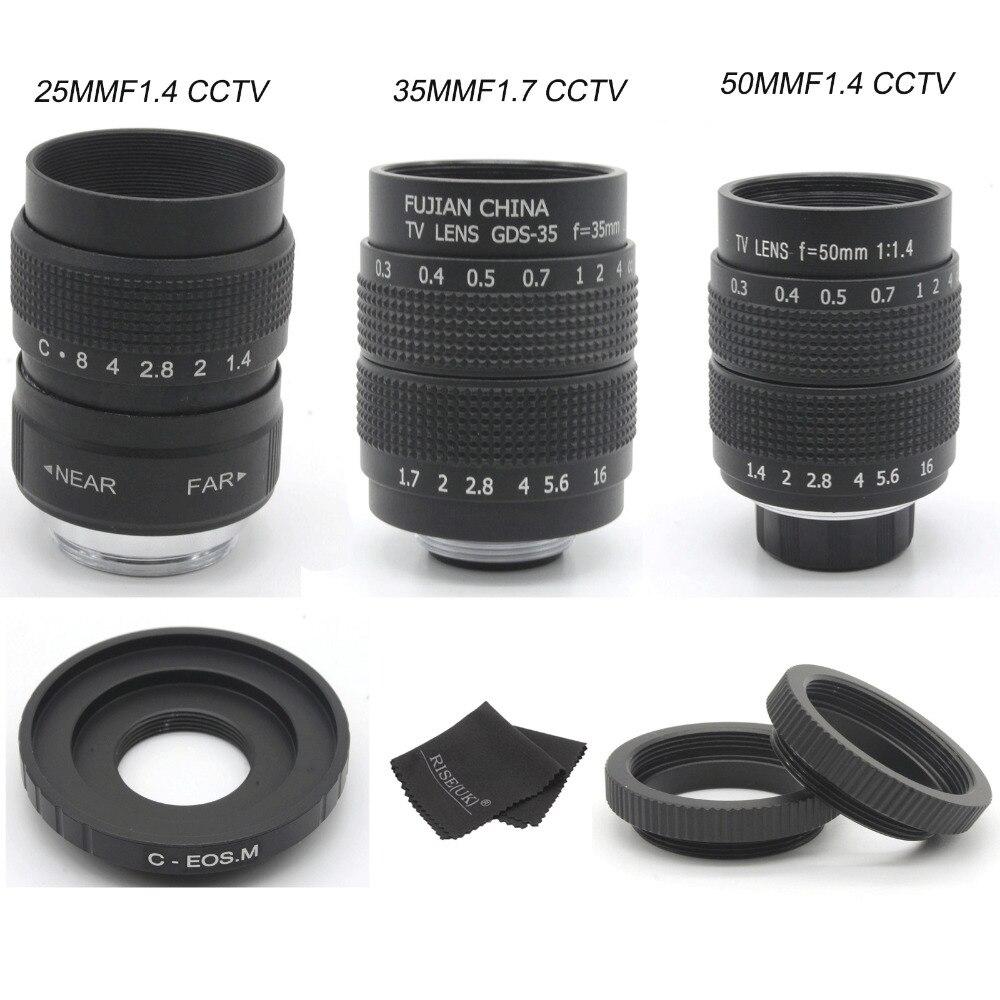 FUJIAN 35mm F1.7 CCTV  camera Lens + 25mm f1.4 camera Lens + 50mmf1.4 camera Lens for  Canon EOSM M2 M3 M5 M6 M10 MirrorlessFUJIAN 35mm F1.7 CCTV  camera Lens + 25mm f1.4 camera Lens + 50mmf1.4 camera Lens for  Canon EOSM M2 M3 M5 M6 M10 Mirrorless