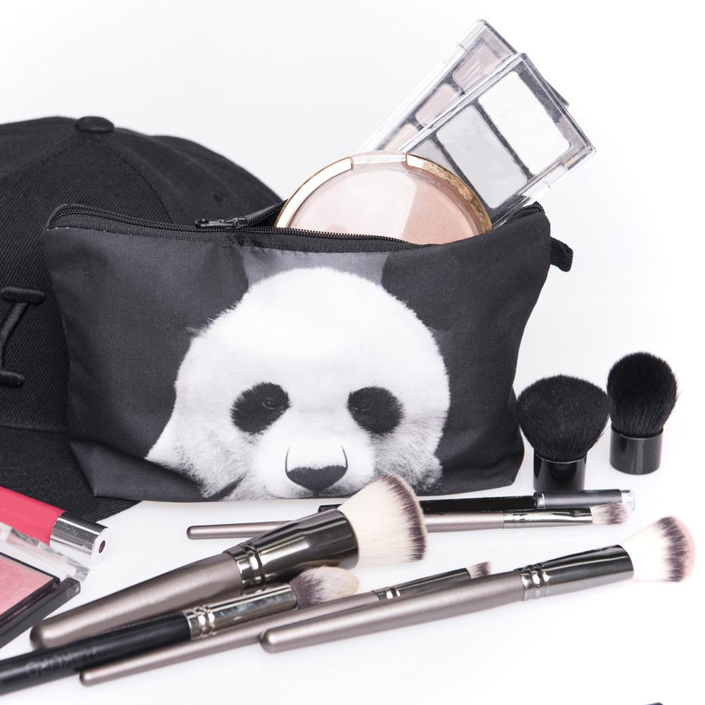 Women Lovely Panda Faux Leather Waterproof Makeup Storage Pouch Cosmetic Bag