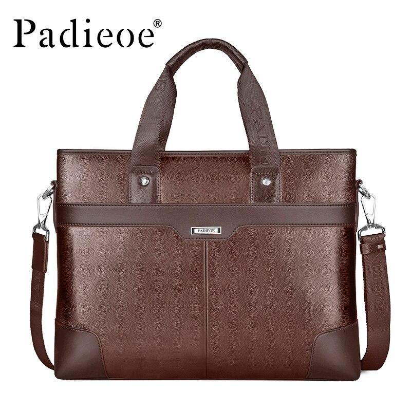 3e79bd74643 Padieoe genuine leather briefcases men handbag briefcase laptop black brown  leather briefcase shoulder bag