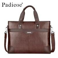 Padieoe genuine leather briefcases men handbag briefcase laptop black brown leather briefcase shoulder bag