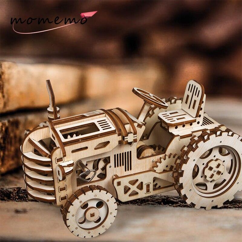 MOMEMO tracteur modèle 3D Puzzle en bois modèle Kits de construction bricolage mécanisme de montage mobile jouets pour enfants adolescents adultes