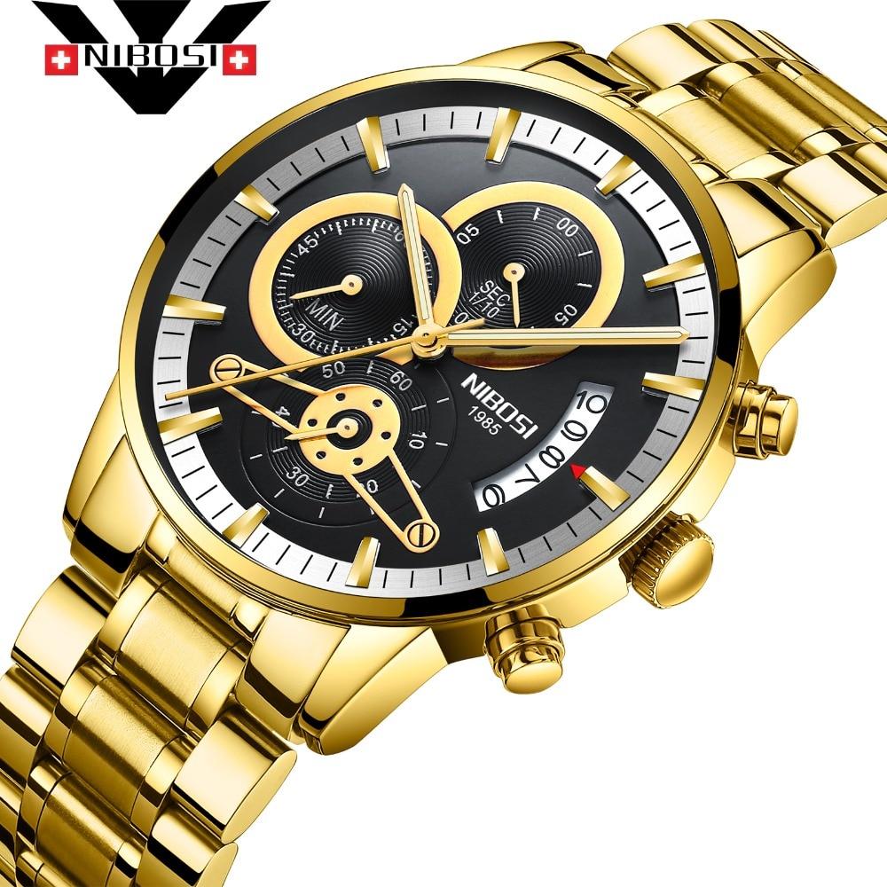 NIBOSI модные для мужчин часы автоматические механические наручные Нержавеющая сталь Мужской