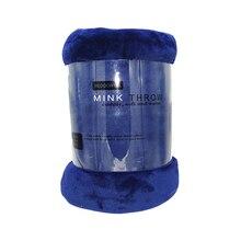 المرجان الصوف المنك بطانية الصلبة اللون الأزرق غطاء الأريكة أريكة الشتاء ملكة حجم ورقة السرير منقوشة مزدوجة رمي البطانيات على السرير