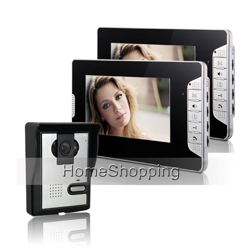 Wholesale Brand New Wired 7 Color TFT HD Home Video Intercom Door Phone System 2 Monitor 1 700TVL Door Camera FREE SHIPPING