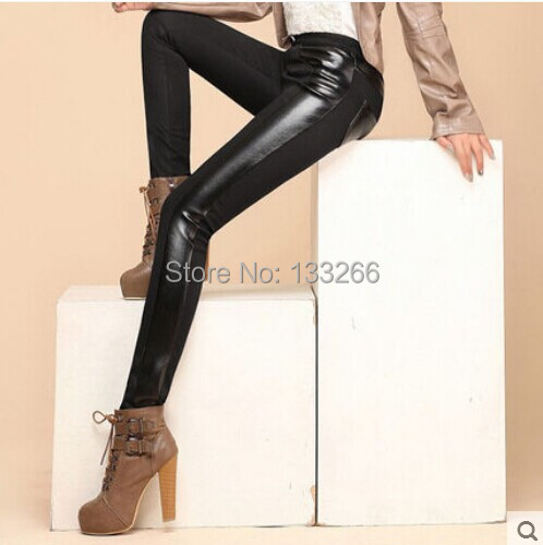 2017 New arrive Women's trousers thickening splicing leather han edition stretch pants add wool