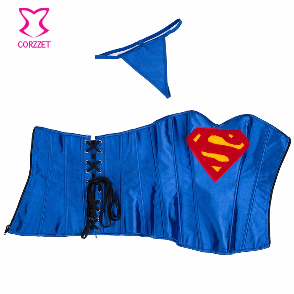 a77517e63 Aliexpress.com   Buy News Blue Superman Overbust Corset With Sexy Skirts  For Women Back Ropes Steel Boned Satain Hero Corsets   Bustiers Cosplay  from ...