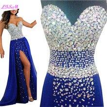 Роскошные Кристаллы бисера Длинные cексуальные вечерние платья Разделение шифоновые вечерние платья для Для женщин Royal Blue Милая Длинные платье для выпускного вечера