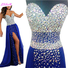Luxury Crystals Beaded Long Evening Dresses Sexy Split Chiffon Gowns for Women Royal Blue Sweetheart Prom Dress