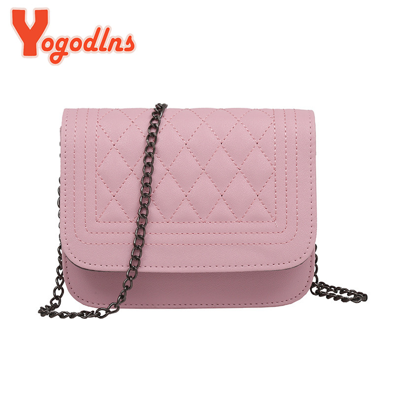 Yogodlns PU Leather Women Messenger Bag Plaid Ladies Crossbody Bag Chain Trendy Candy Color Small Flap Shopping Handbag