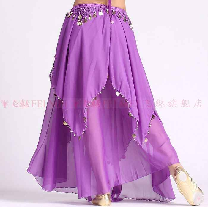 Details about  /YELLOW Women Chiffon Half Circle Maxi Skirt for Belly Dancing Costume GYPSY