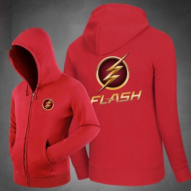 Hot The Flash Logo Hoodies Hoody  Sweatshirts Outerwear Unisex Cotton Zipper Coat  Super Hero