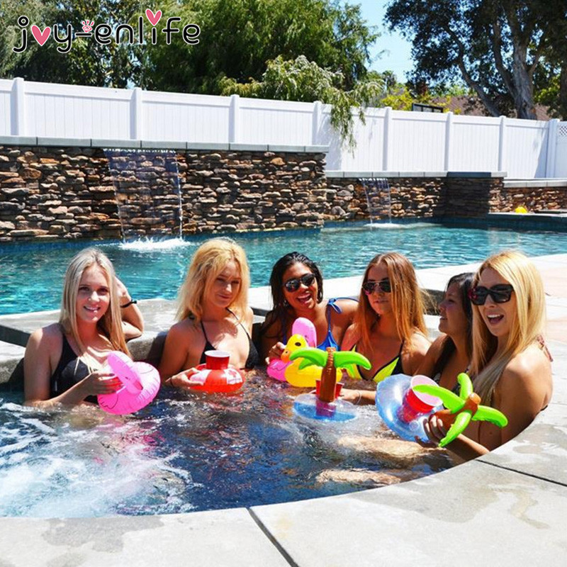 JOY-ENLIFE 6pcs/lot Mini Inflatable Drink Cup Holders Unicorn/Flamingo/Donut Swimming Pool Toys Hawaii Beach Party Supplies