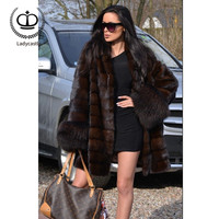 2018 New Real Mink Fur Coat With Raccoon Sleeve Coat Fur Natural Women Real Mink Fur Outwear Winter Woman Real Fur Coat MKW 065