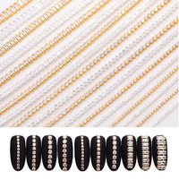 10pcs/set Gold Nail Rhinestones Zircon Stone 3D Nail Glitter Crystal Chain Decals Diamond DIY Nail Art Decoration Tips