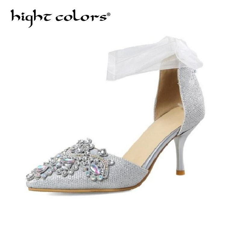 Big Size 40 43 Women Pumps Bling High Heels Women sandals Glitter High Heel Shoes Woman Sexy Wedding Shoes Red Silver Pink luxury brand crystal patent leather sandals women high heels thick heel women shoes with heels wedding shoes ladies silver pumps