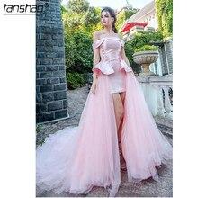 2019 vestidos de noche rosa claro de hombro de manga corta vestidos para la alfombra roja lazo trasero-Up hecho a medida Formal