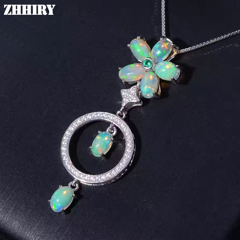 ZHHIRY Genuine Natural Color Opal 925 Sterling Silver Necklace Pendant For Women Fire Gemstone Fine Jewelry все цены