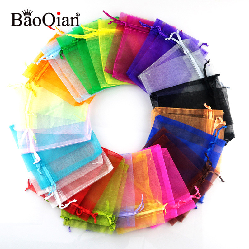 50 100pcs 5x7 7x9 9x12 13x18cm Organza Jewelry Packaging Bags Wedding Party Decoration Favors Drawable Candy