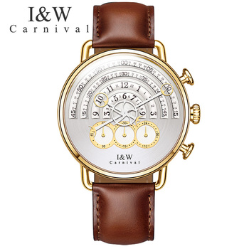 2017 CARNIVAL I&W Fashion Classic Big Dial Quartz Men Watch TopBrand Luxury Steampunk Sapphire Mirror Leather Waterproof Montre