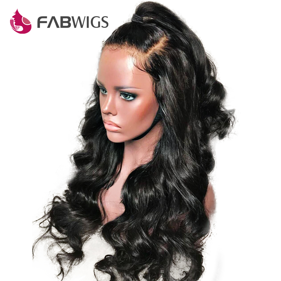 Fabwigs Brazilian Body Wave 360 Lace Frontal Wig Pre Plucked with Baby Hair Human Hair Wigs For Women Black Color Remy Hair