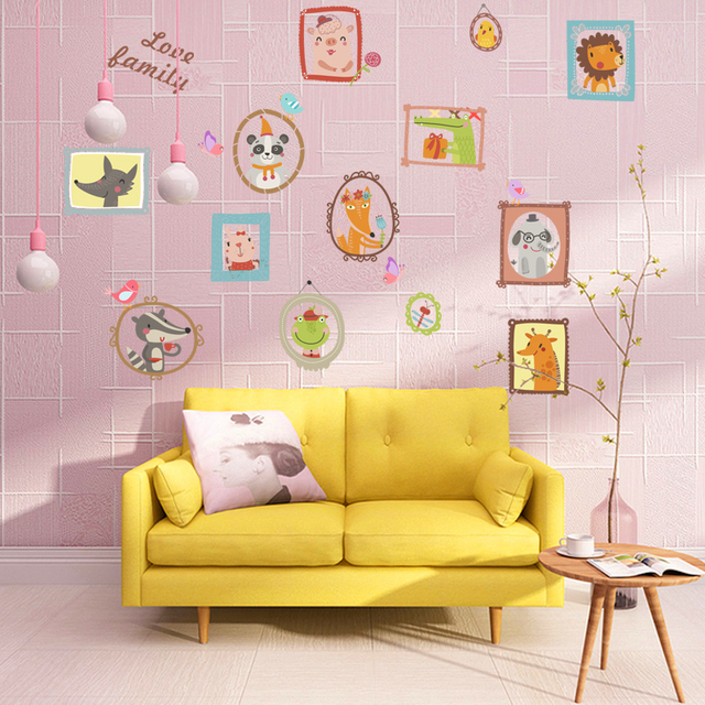 cartoon animals love family wall decals for kids rooms bedroom home ...