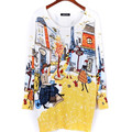 Spring 2016 Fashion and High Quality Women Print Pullover Sweater Long Design Sweater Dress Plus Size Loose Bbasic Sweater B321