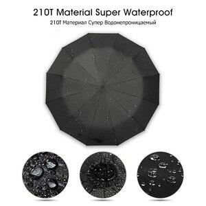 Image 5 - Hot Koop Merk Regen Paraplu Mannen Kwaliteit 12 RIBBEN Sterke Winddicht Glasvezel Frame Houten Lange Steel Paraplu vrouwen Parapluie