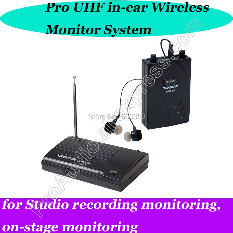 где купить Takstar Stage Wireless Recording studio Monitor System In-Ear UHF Wireless 1 Transmitter 1 Receiver monitoring дешево