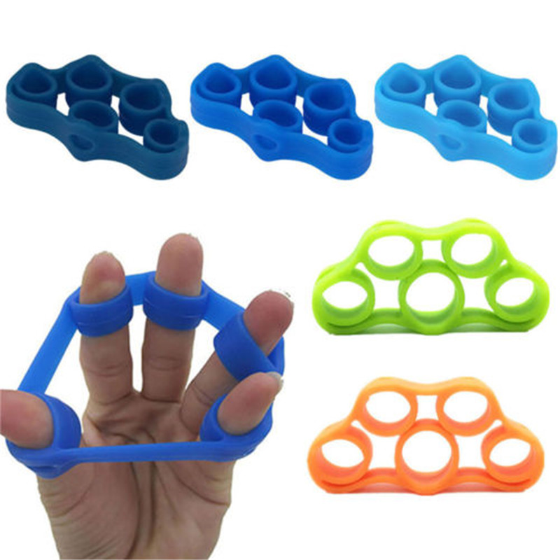 2pc Finger Gripper Strength Trainer Silicone Resistance Band Hand Grip Yoga Stretcher Finger Expander Exercise Fitness Equipment