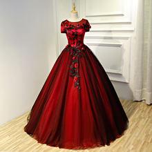 8fcc5d4947b 100% реальные Маскарад Черная вуаль красный бальный наряд суд Средневековом Платье  эпохи Возрождения платье королевы