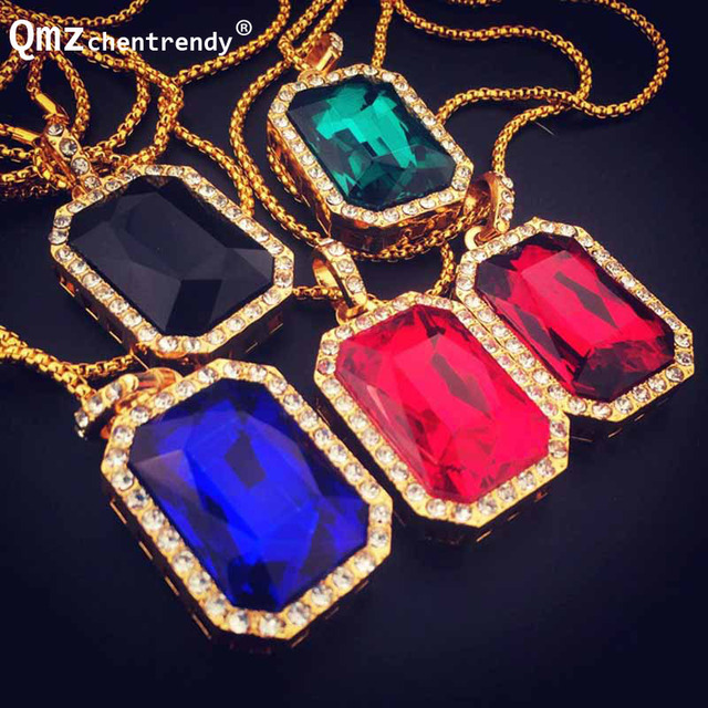 Hip hop Bling Iced Out Big Black Red Blue Square Stone Gem Pendant Necklace Box Chain imitation Gemstone Necklace Fine Jewelry