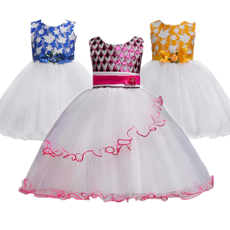 Girl Party Dresses Blue Princess Sleeveless Wedding Birthday dress size for 3 4 5 6 7 8 9 10 11 12 years teenager girls clothes fashion 2 3 4 5 6 7 8 years girls children wedding clothes flying sleeve ruffles short birthday princess dresses for party