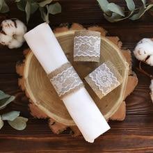 Girasol arpillera con encaje anillo de servilleta titular rústico Vintage boda fiesta Navidad nupcial ducha decoración de la Mesa