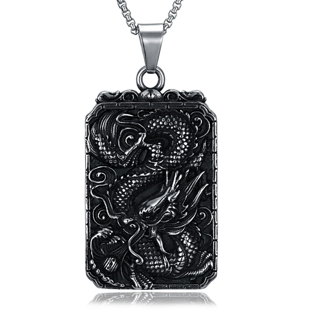 5.2 * 3.5 Silver Ancient Dragon Pendant Necklace Chinese Style Necklace Pendant Necklace Chain Type Cable Chain Black Choker Dk
