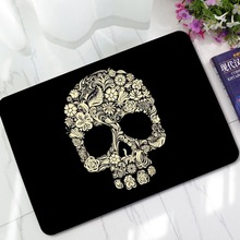 CAMMITEVER Skull Scary Colorful Rug Floor Mat Floral Flower Black Throw Polyester Fiber Carpet Rugs for Bedroom Kids Men Mats
