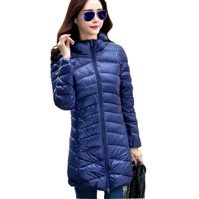 Down   2019 New Brand Winter   Down   Jacket Women Long White Duck   Down   Jacket Outwear Ultralight Hooded Thin Hat   Coat