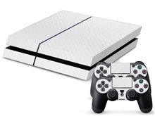 White Carbon Fiber Game Decal Skin Stickers For Playstation 4 Console + 2Pcs Stickers For PS4 Controller Free Shipping