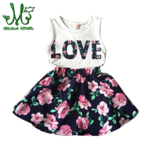 Flower Girls Clothes Casual Summer Toddler Children Clothing Set LOVE Letter Vests Skirst Kids Suits For 2 3 4 5 6 7 8 9 10 year boys girls sport suits casual children clothing set spring autumn high quality kids clothes 4 5 6 7 8 9 10 year tracksuits