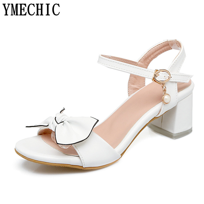 fa63b1d7eb65 YMECHIC Womens Sandals Butterfly knot Lovely Cute Young Lady s Summer Shoes  Med Chunky Heels Pink White Ladies Sandals Size Plus-in Middle Heels from  Shoes ...