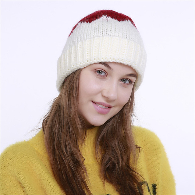 3f8fc7fc661 Feitong Hot Sale Women s Hat Knitting Wool Color Block Warm Orange Fashion  Beanie Winter Red Hat Ski Crochet Female Cap