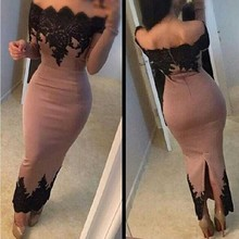 E7070 Sexy off the shoulder boat neckline black lace chiffon short long sleeve prom dresses
