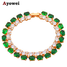 Beautiful  Gold color Bracelets Green Crystal Design AAA Zircon Health Nickel & Lead free Fashion jewelry TB247A