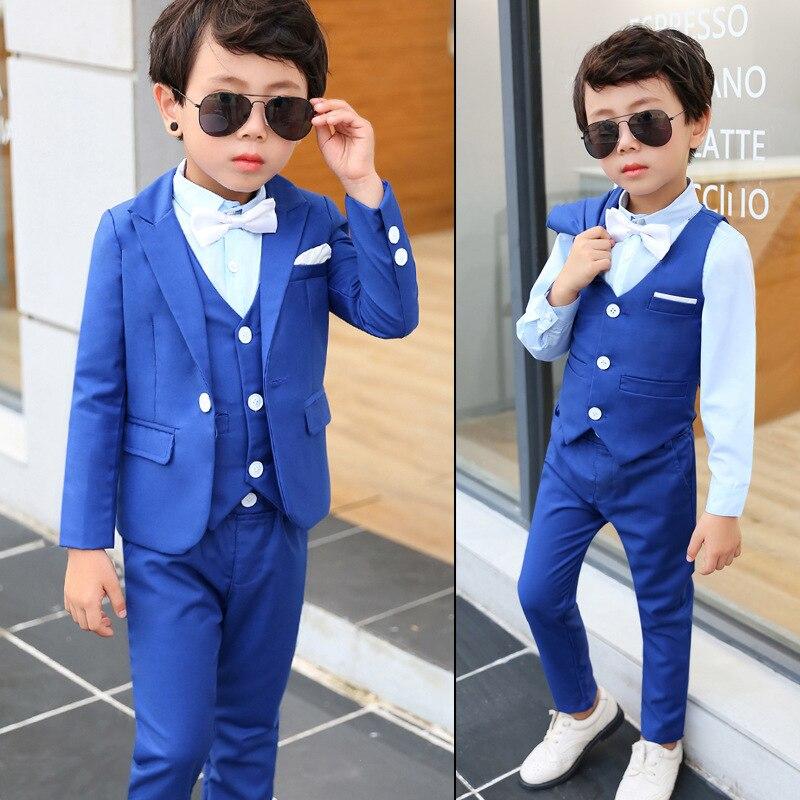 Blaue Kleidung Anzug Für Baby Kinder Blazer Weste Setzt Neue Kinder Hochzeit Kleidung SchnäPpchenverkauf Zum Jahresende